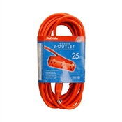 14/3 Extension Cord 3 Outlet Red 25'