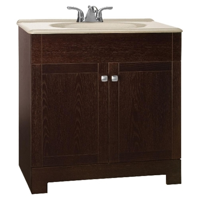 "Sedona 30"" Vanity in Java Oak Finish with Solid Surface Technology Top"