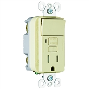 Ivory 15 Amp 125 Volt GFCI Decorator Receptacle with Single Pole Switch