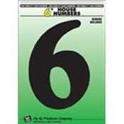 "6"" Black Plastic House Number 6"