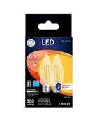 Decorative LED Light Bulbs, Soft White, Clear, Dimmable, 300 Lumens, 3.5-Watts, 2-Pk.