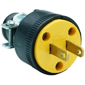 Black 15 Amp 125 Volt 2 Wire Plug with Clamp