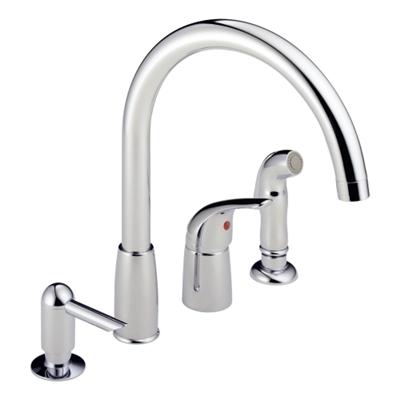 Single Handle Kitchen Faucet With Sprayer Soap Dispenser Chrome