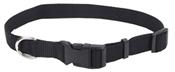 "5/8"" Adjustable Black Nylon Collar, 10""-14"""