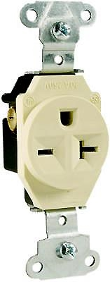 20 Amp 250 Volt Single Receptacle, Ivory