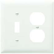 White Nylon 2 Gang Toggle/Receptacle Plate
