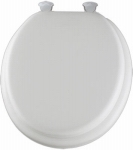 Molded Wood Padded Vinyl Round Toilet Seat with Easy Clean Hinge - White