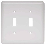 Toggle Wall Plate, 2-Gang, Stamped, Round, White Steel