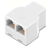 2-Way 6Wire Phone Splitter White