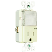 Almond 15 Amp 120 Volt Tamper Resistant Receptacle with Hall Way Light