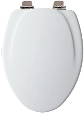 Elongated Molded Wooden Toilet Seat, White with Nickel Hinges