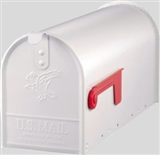 WHITE STEEL RURAL MAILBOX WITH SMOOTH SIDES