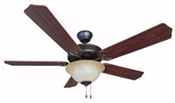 "52"" Dover Tri-Mount Motor Ceiling Fan Oil Rubbed Bronze with Light Kit"