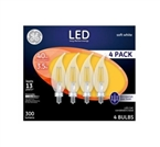 LED Candelabra Light Bulbs, Soft White, Clear, 300 Lumens, 3.5-Watts, 4-Pk.