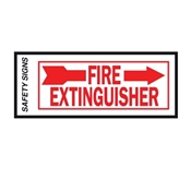 """FIRE EXTINGUISHER""  RIGHT ARROW RED/WHITE VINYL SIGN 4""X10"""