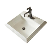 "22 x 18"" Rect Drop-In Lavatory, White"