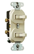 Double Single-Pole Switch, Almond