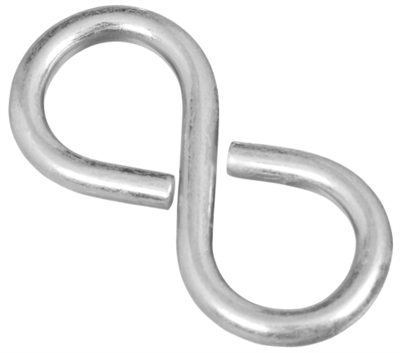 "1-5/8"" Closed S-Hook, Zinc, 4 Pack"