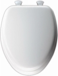 Molded Wood Padded Vinyl Elongated Toilet Seat with Easy Clean Hinge - White