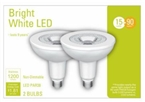 LED Outdoor Flood Light Bulbs, Bright White, Clear, 1200 Lumens, 15-Watts, 2-Pk.