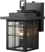 Exterior Wall Lantern, Photo Cell, Seedy Glass Lens, Textured Black Finish