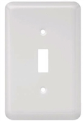 Toggle Wall Plate, 1-Gang, Stamped, Round, White Steel