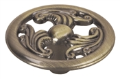 "1-1/2"" Filigree Cabinet Knob - Antique Brass"