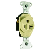 Ivory 20 Amp 125 Volt Commercial Grade Single Receptacle