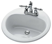 "19"" White Laurel Round Lavatory"