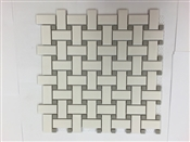 12 x 12 Basketweave With Grey Dot Mosaic Tile