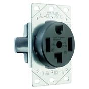 Black 30 Amp 125/250 Volt Flush Mount 4 Wire Dryer Outlet
