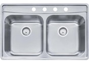 "8"" Fast-In 20 Gauge Stainless Steel Double Bowl Sink"
