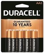 DURACELL COPPERTOP MN15B8ZTSS Alkaline Battery, 1.5 V Battery, AA Battery, Manganese Dioxide, 8