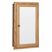 "16"" Mirrored Medicine Cabinet, Oak"