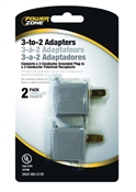 15A Grounding Adapter, Gray, 2 Pack
