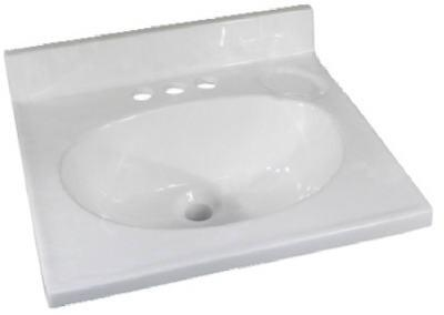 "Foremost 19"" x 17"" Cultured Marble 1 Bowl Vanity Top - White"