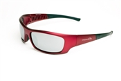 Satin Red Full Frame Sunglasses With Smoke/Silver Mirror Lens