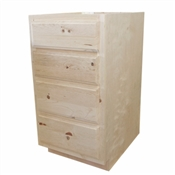 "18"" Unfinished Pine Drawer Base Cabinet"