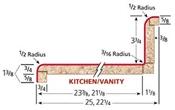 8' Travertine Valencia Kitchen Top 3526-46