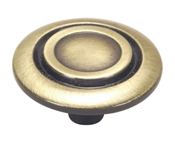 "1-1/4"" Scroll Cabinet Knob - Antique Brass"