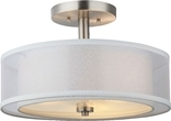 El Dorado 2 Light Semi Flush Ceiling Fixture, Satin Nickel