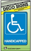 """HANDICAPPED"" BLUE/WHITE PLASTIC SIGN 5""X7"""