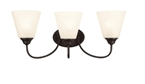 Galveston 3 Light Wall Sconce, Black Finish