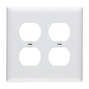 White Nylon 2 Gang Receptacle Plate