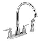 Emmett 2 Handle High Arc Kitchen Faucet With Side Sprayer, Chrome
