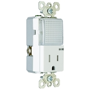 White 15 Amp 125 Volt Tamper Resistant Receptacle with Hall Way Light