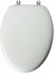 Molded Wood Elongated Toilet Seat with Chrome Hinges - White