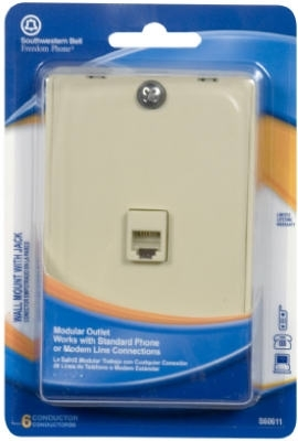 Wall Phone Jack Mount Modular Ivory