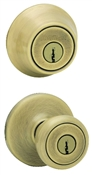 Tylo Entry Lockset with Single Cylinder Deadbolt - Antique Brass