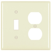 Almond Nylon 2 Gang Toggle/Receptacle Plate